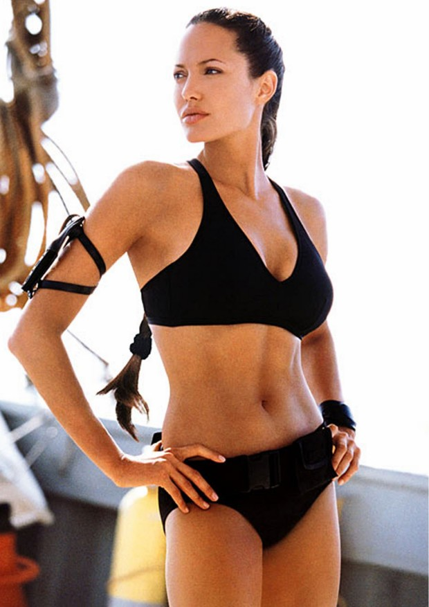 Female bad-ass Angelina Jolie as Lara Croft.